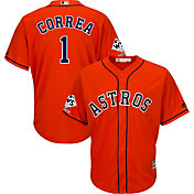 Majestic Men's 2017 World Series Champions Replica Houston Astros Carlos Correa Cool Base Alternate Orange Jersey