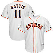 Majestic Men's 2017 World Series Champions Replica Houston Astros Evan Gattis Cool Base Home White Jersey