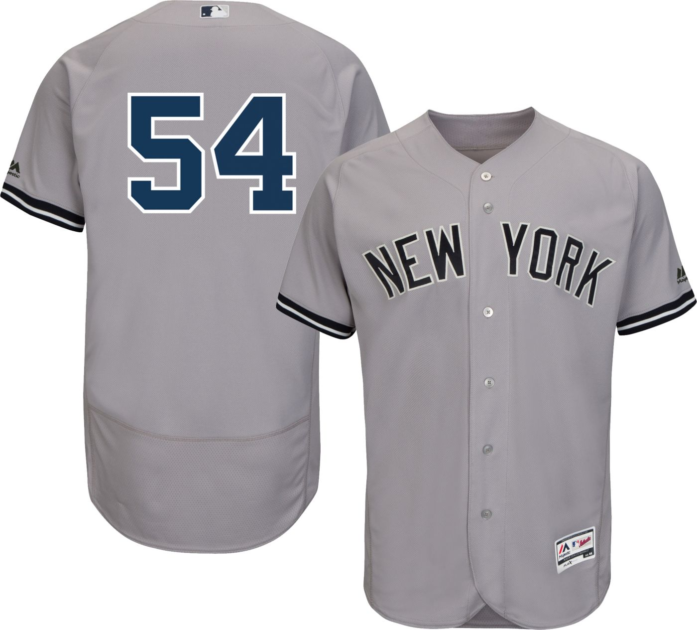 Majestic Men's Authentic New York Yankees Aroldis Chapman #54 Flex Base Road Grey On-Field Jersey