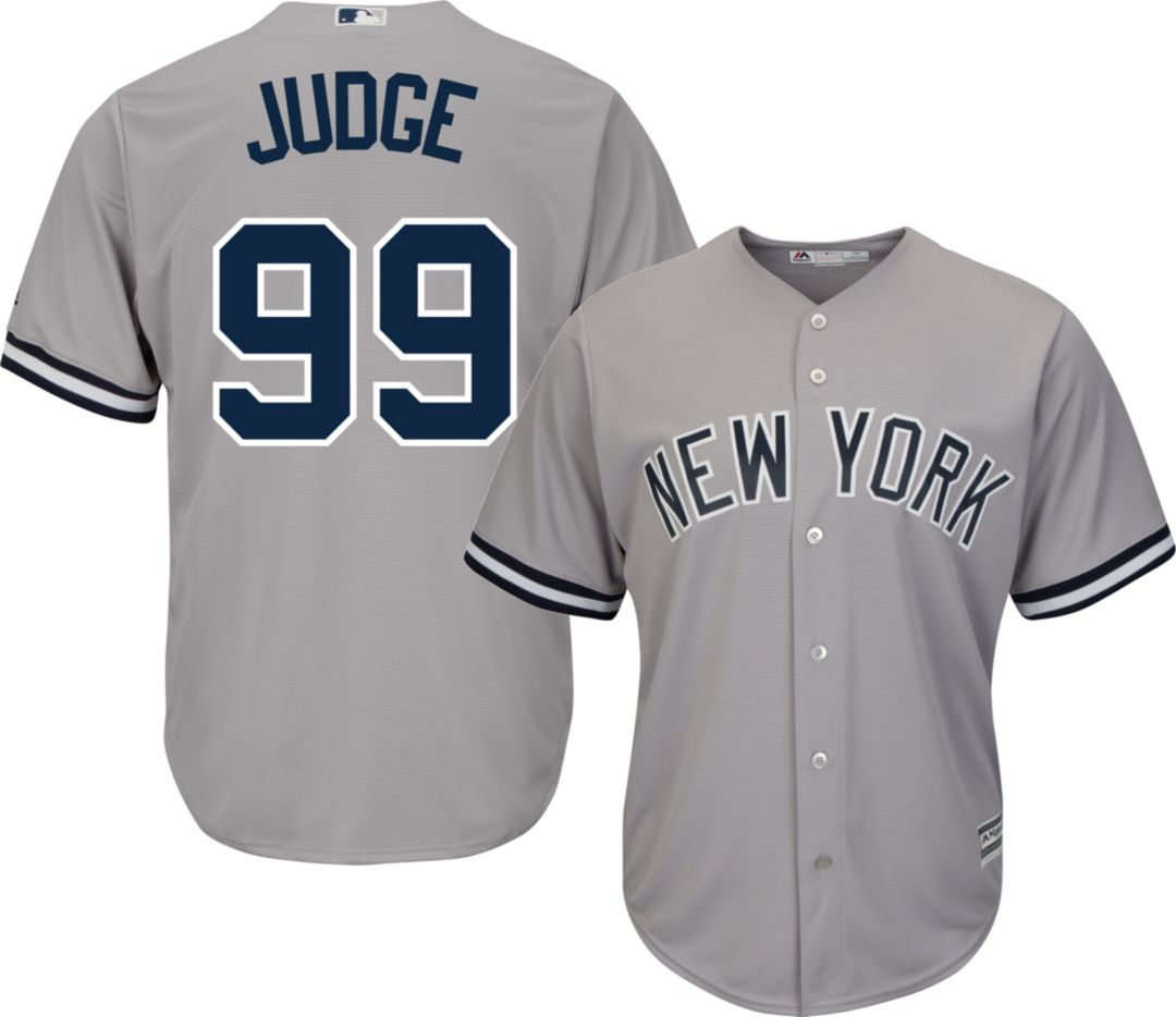 0224f5a81db Majestic Men's Replica New York Yankees Aaron Judge #99 Cool Base Road Grey  Jersey 1