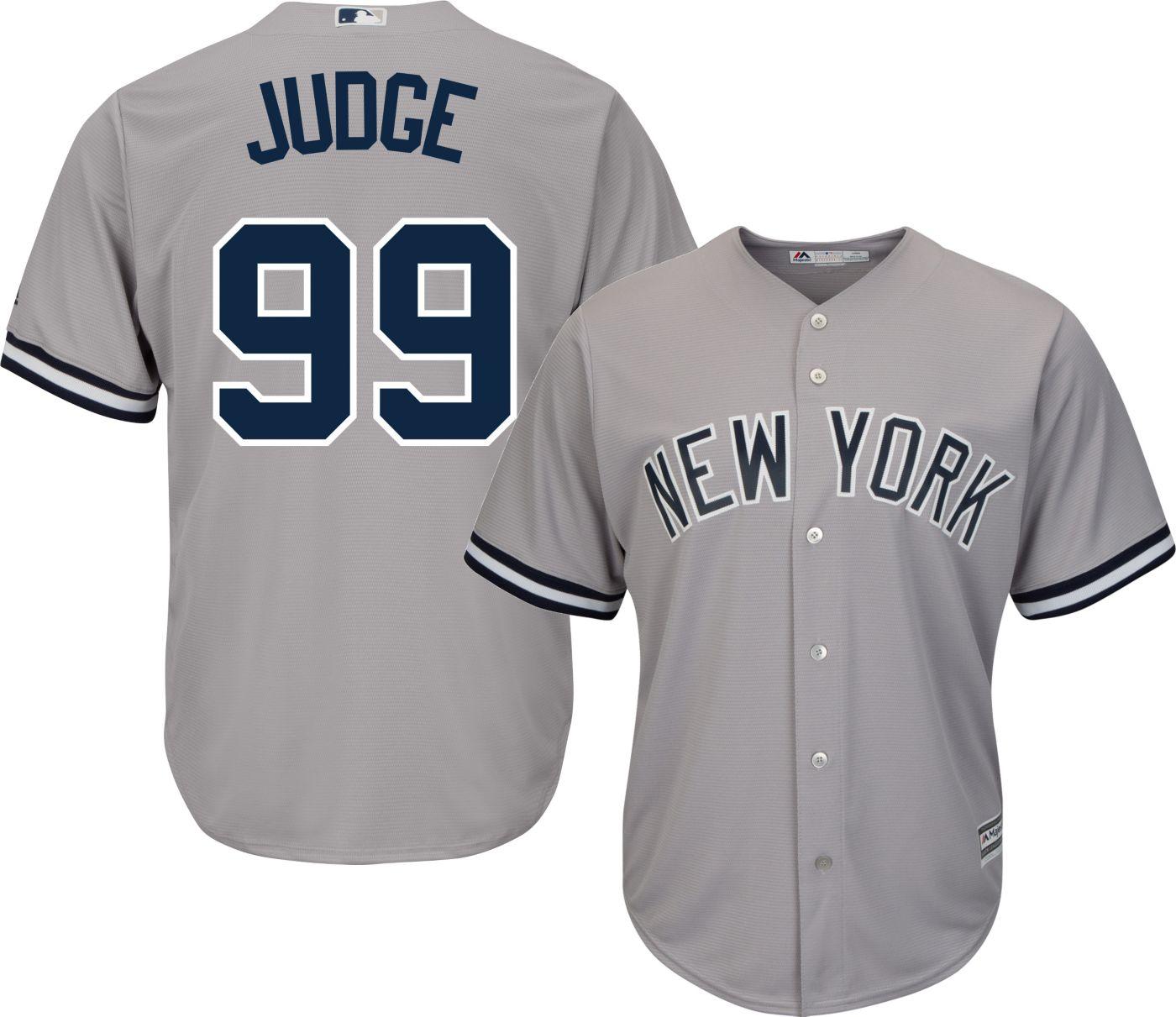 Majestic Men's Replica New York Yankees Aaron Judge #99 Cool Base Road Grey Jersey