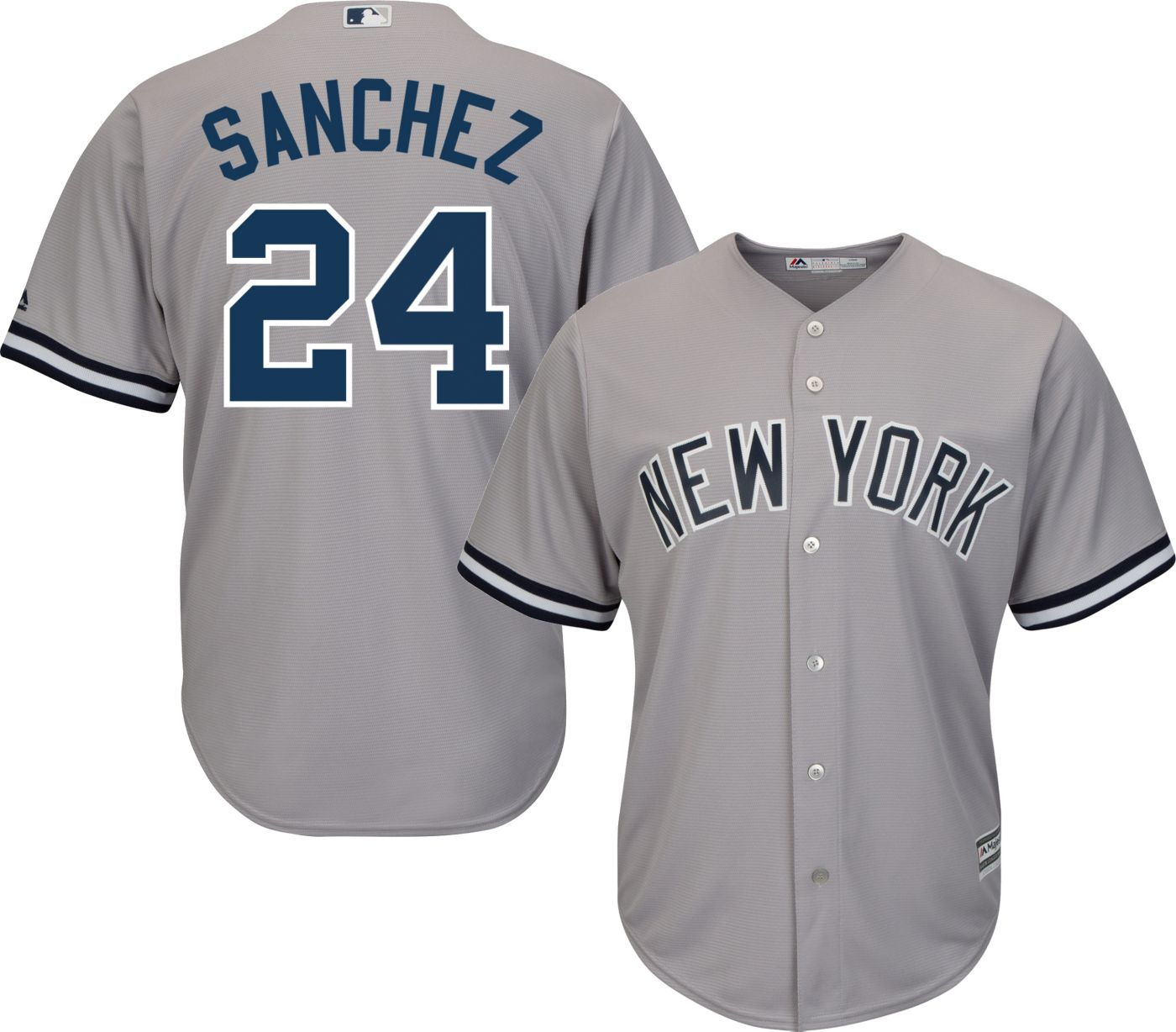 Majestic Men's Replica New York Yankees Gary Sanchez #24 Cool Base Road Grey Jersey