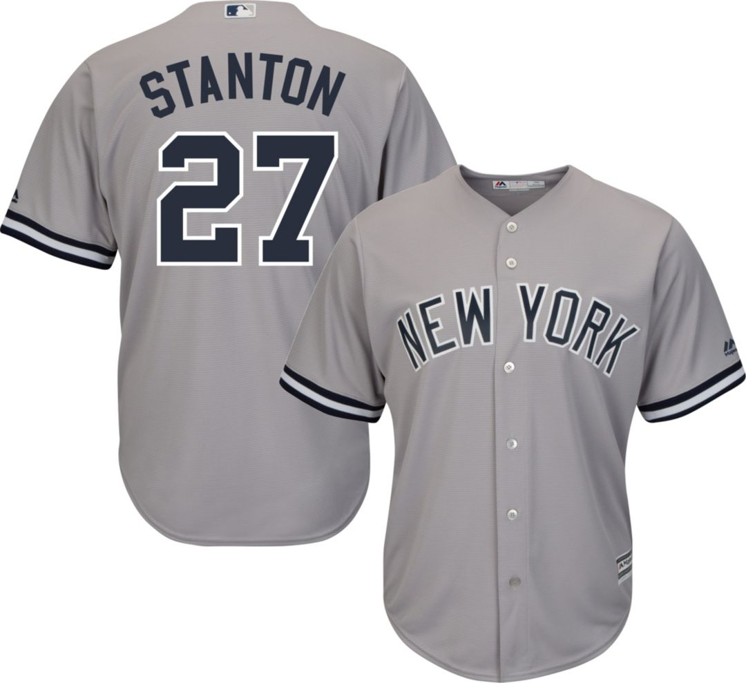 sports shoes c6bb9 7f0fa Majestic Men's Replica New York Yankees Giancarlo Stanton #27 Cool Base  Road Grey Jersey