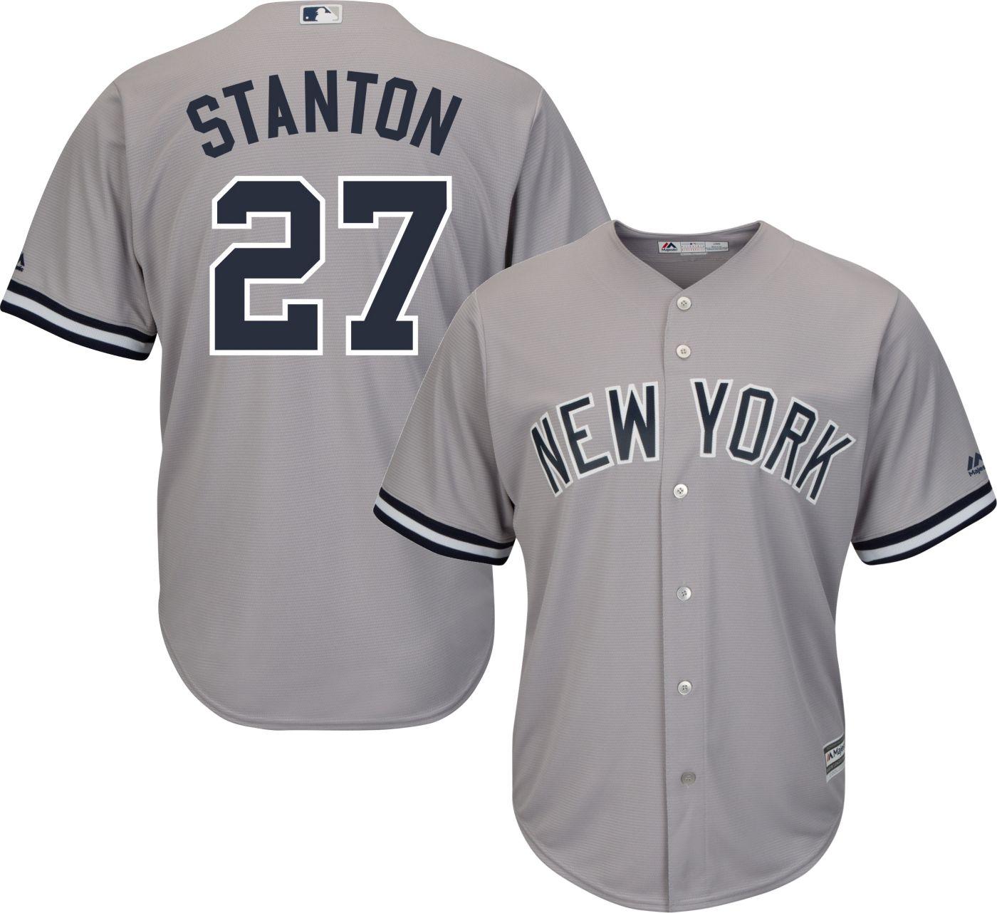 Majestic Men's Replica New York Yankees Giancarlo Stanton #27 Cool Base Road Grey Jersey
