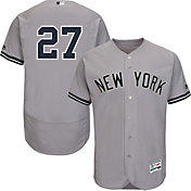 Majestic Men's Authentic New York Yankees Giancarlo Stanton #27 Flex Base Road Grey On-Field Jersey