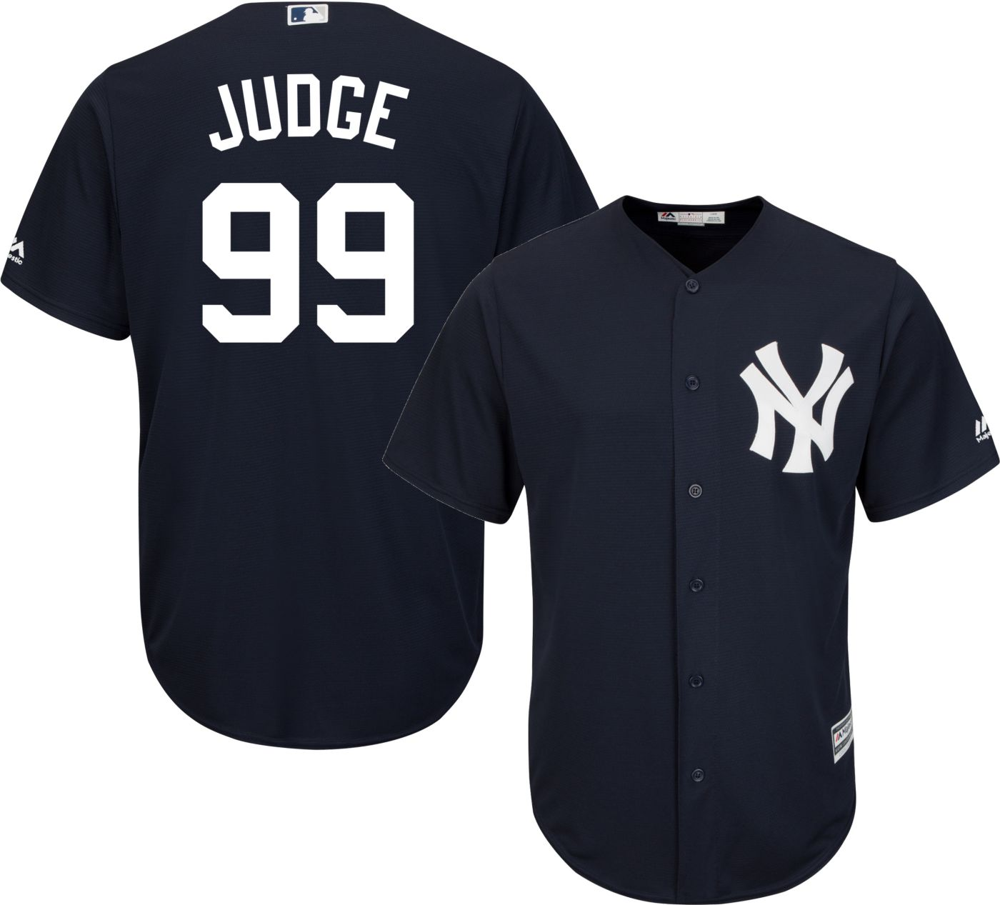 Majestic Men's Replica New York Yankees Aaron Judge #99 Cool Base Alternate Navy Jersey