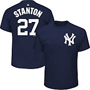 Majestic Men's New York Yankees Giancarlo Stanton #27 Navy T-Shirt