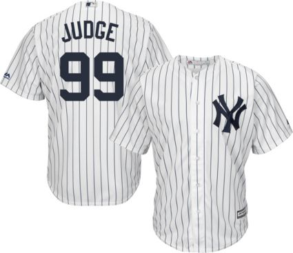 0247f35b0bb Majestic Men s Replica New York Yankees Aaron Judge  99 Cool Base Home  White Jersey. noImageFound