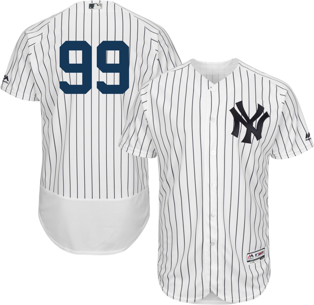 separation shoes 5a247 3a128 Majestic Men's Authentic New York Yankees Aaron Judge #99 Flex Base Home  White On-Field Jersey