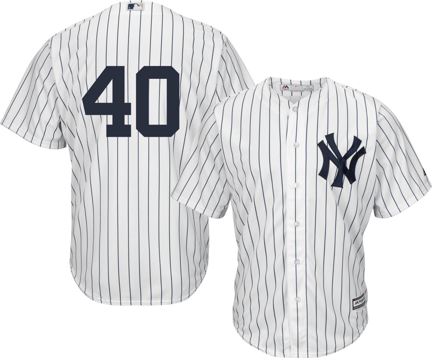 Majestic Men's Replica New York Yankees Luis Severino #40 Cool Base Home White Jersey