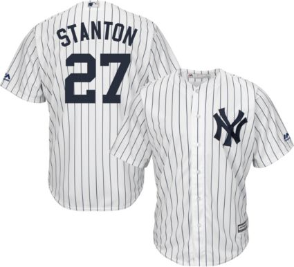 Majestic Men s Replica New York Yankees Giancarlo Stanton  27 Cool Base  Home White Jersey. noImageFound e1a9d85f598
