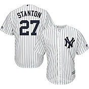 Majestic Men's Replica New York Yankees Giancarlo Stanton #27 Cool Base Home White Jersey