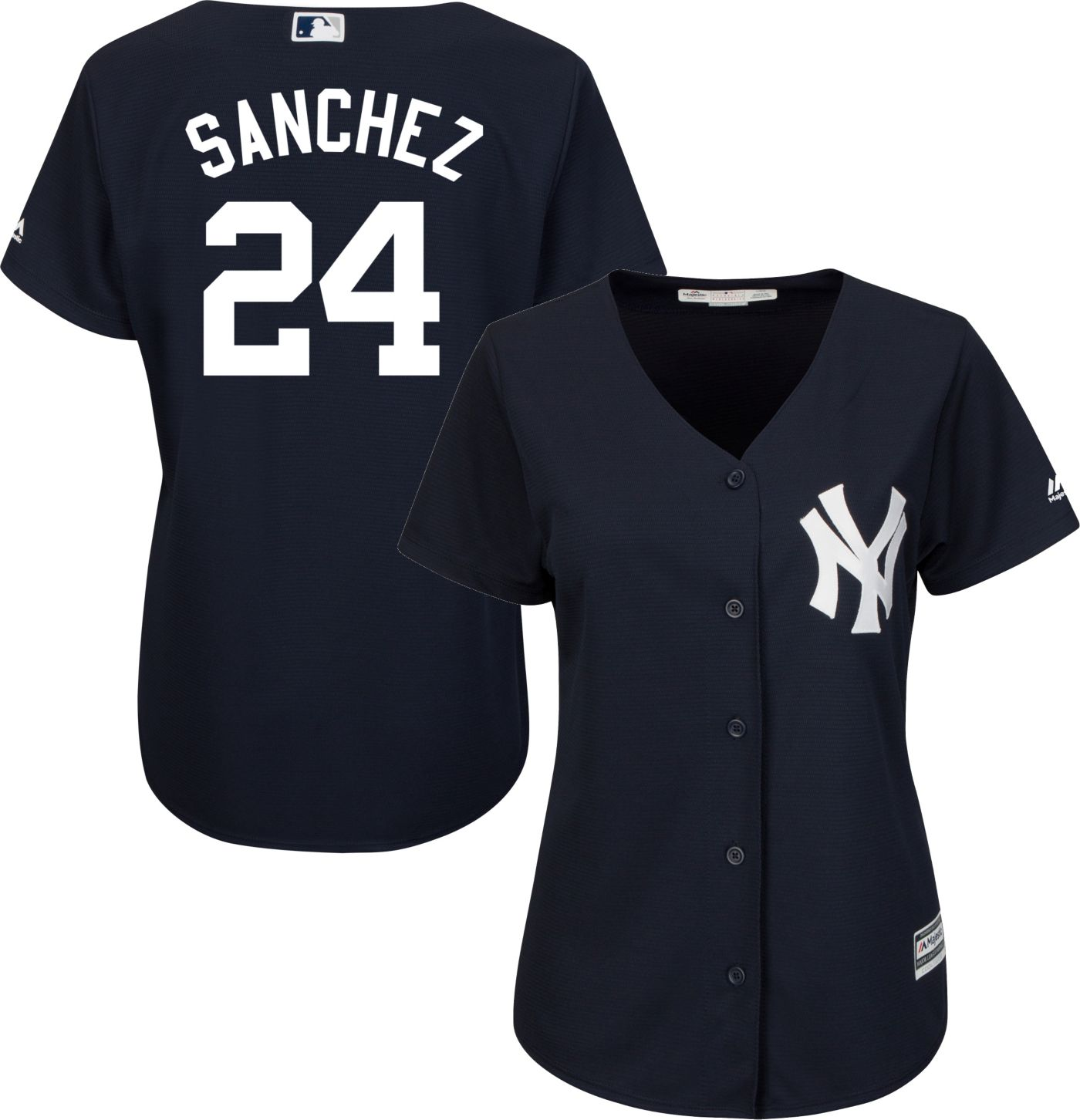 Majestic Women's Replica New York Yankees Gary Sanchez #24 Cool Base Alternate Navy Jersey