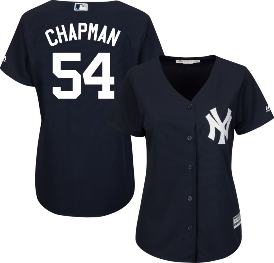 new product ed1fc 26dc5 Majestic Women's Replica New York Yankees Aroldis Chapman #54 Cool Base  Alternate Navy Jersey
