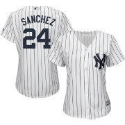 Majestic Women's Replica New York Yankees Gary Sanchez #24 Cool Base Home White Jersey
