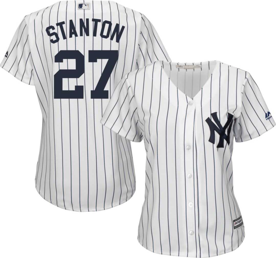 release date: 37fea b1d71 Majestic Women's Replica New York Yankees Giancarlo Stanton #27 Cool Base  Home White Jersey