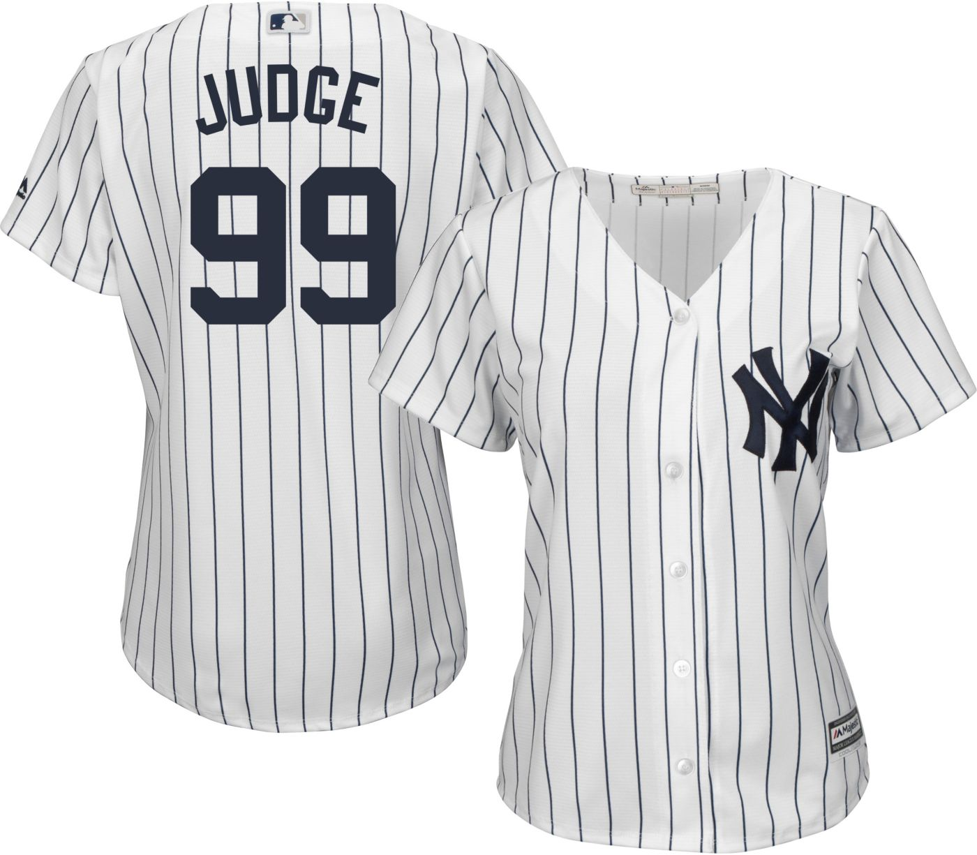 Majestic Women's Replica New York Yankees Aaron Judge #99 Cool Base Home White Jersey