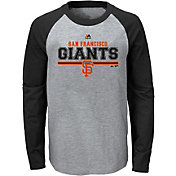 Majestic Youth San Francisco Giants Grey/Black Raglan Long Sleeve Shirt