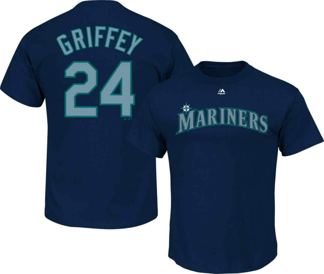 official photos b5a67 2a389 Majestic Youth Seattle Mariners Ken Griffey Jr. #24 Navy T-Shirt