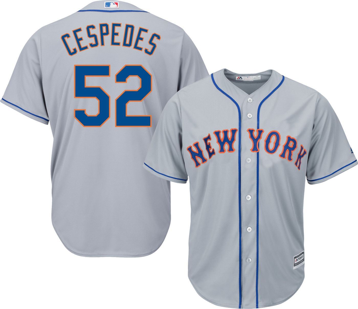 Majestic Youth Replica New York Mets Yoenis Cespedes #52 Cool Base Road Grey Jersey