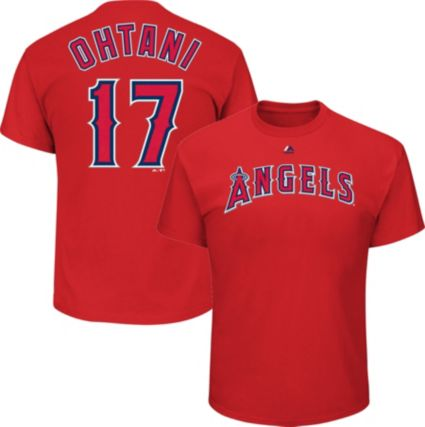 b817681f2 Majestic Youth Los Angeles Angels Shohei Ohtani  17 Red T-Shirt.  noImageFound
