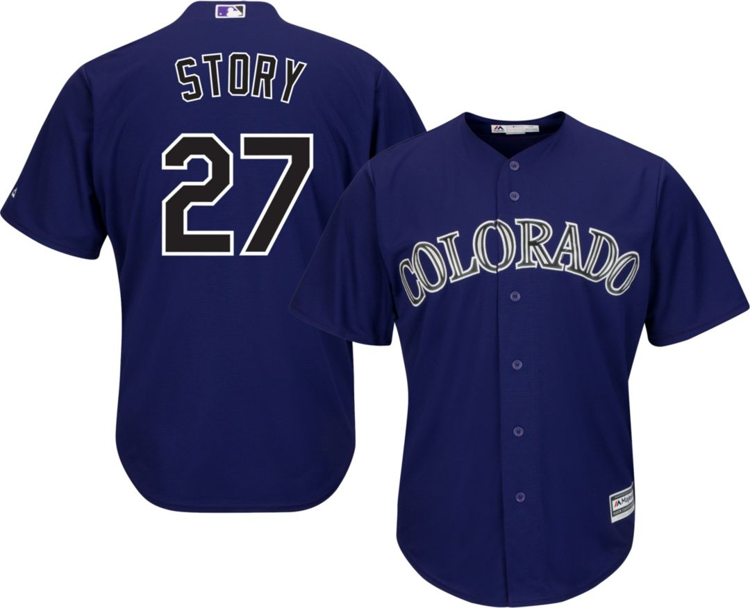online retailer c5136 fcc00 Majestic Youth Replica Colorado Rockies Trevor Story #27 Cool Base  Alternate Purple Jersey