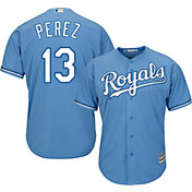 Majestic Youth Replica Kansas City Royals Salvador Perez #13 Cool Base Alternate Light Blue Jersey