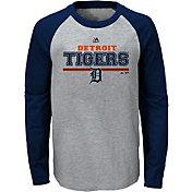 Majestic Youth Detroit Tigers Grey/Navy Raglan Long Sleeve Shirt