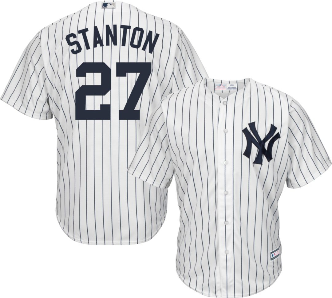 big sale 9d5ef d1c57 Youth Replica New York Yankees Giancarlo Stanton #27 Home White Jersey
