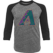Majestic Threads Men's Arizona Diamondbacks Grey Raglan Three-Quarter Shirt