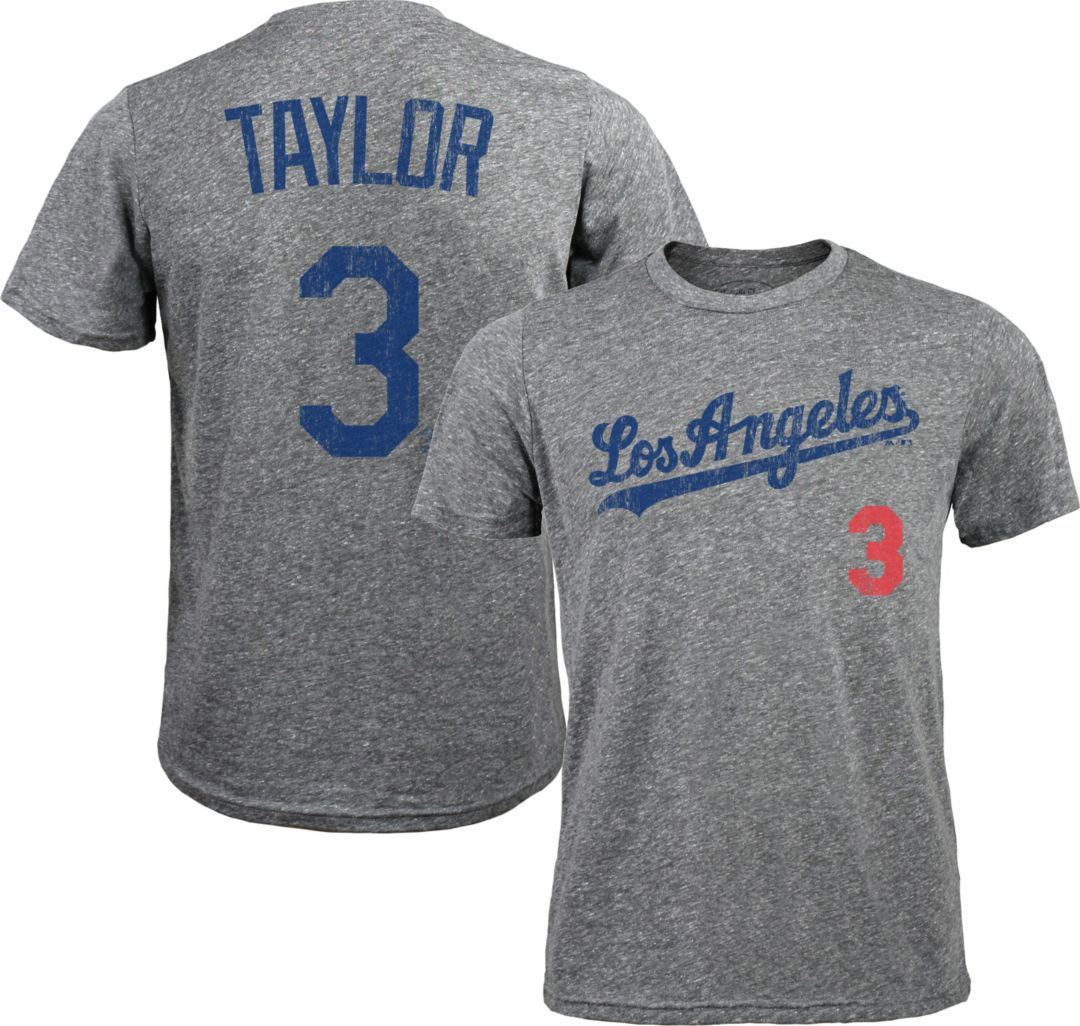 brand new 671e0 2d448 Majestic Threads Men's Los Angeles Dodgers Chris Taylor #3 Grey Tri-Blend  T-Shirt