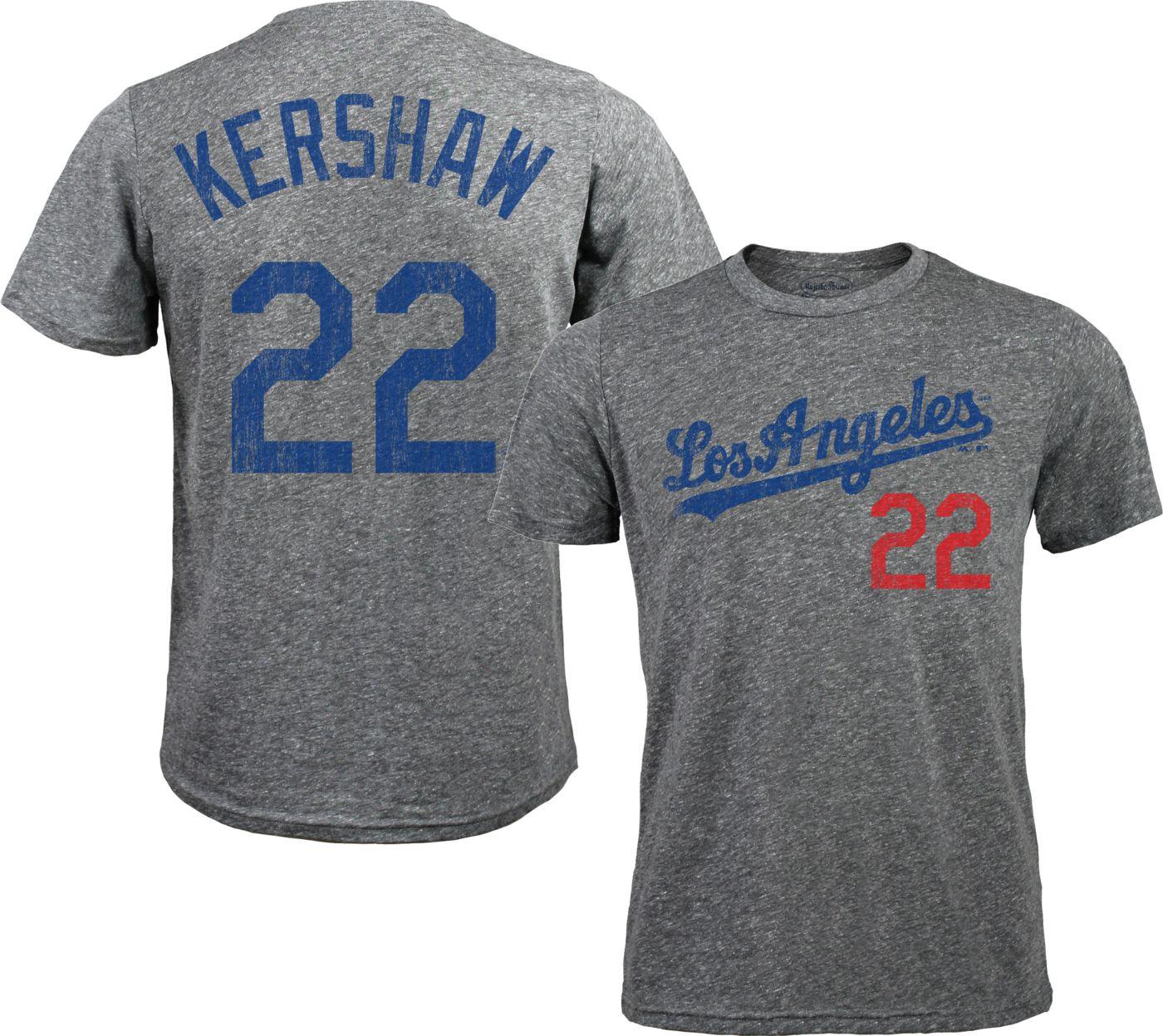 Majestic Threads Men's Los Angeles Dodgers Clayton Kershaw #22 Grey Tri-Blend T-Shirt