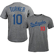 Majestic Threads Men's Los Angeles Dodgers Justin Turner #10 Grey Tri-Blend T-Shirt