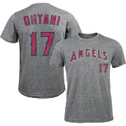 Majestic Threads Men's Los Angeles Angels Shohei Ohtani #17 Grey Tri-Blend T-Shirt