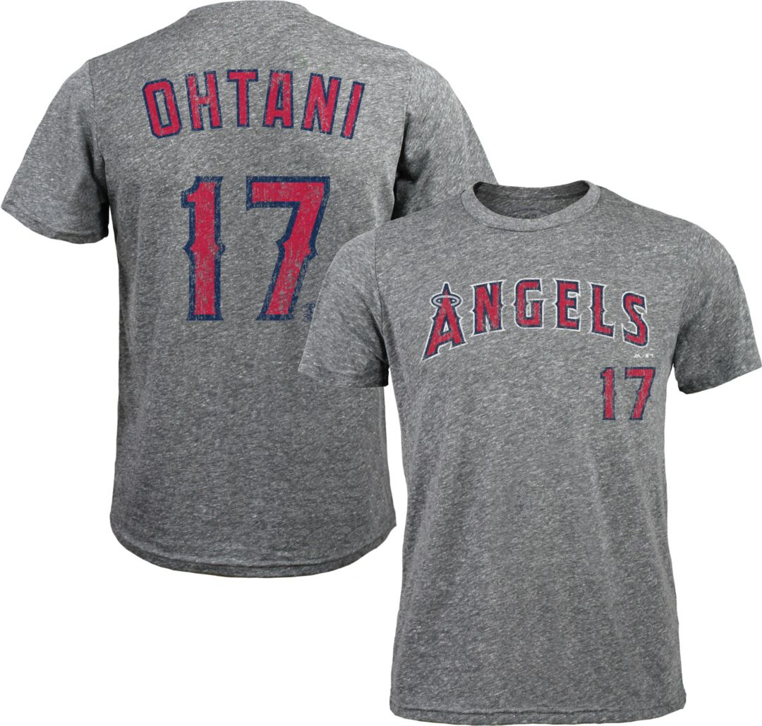 official photos ceb20 781db Majestic Threads Men's Los Angeles Angels Shohei Ohtani #17 Grey Tri-Blend  T-Shirt