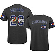 Majestic Threads Men's Colorado Rockies Nolan Arenado Flag Black T- Shirt