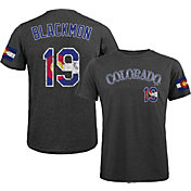 Majestic Threads Men's Colorado Rockies Charlie Blackmon Flag Black T- Shirt