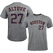 Majestic Threads Men's Houston Astros Jose Altuve #27 Grey Tri-Blend T-Shirt