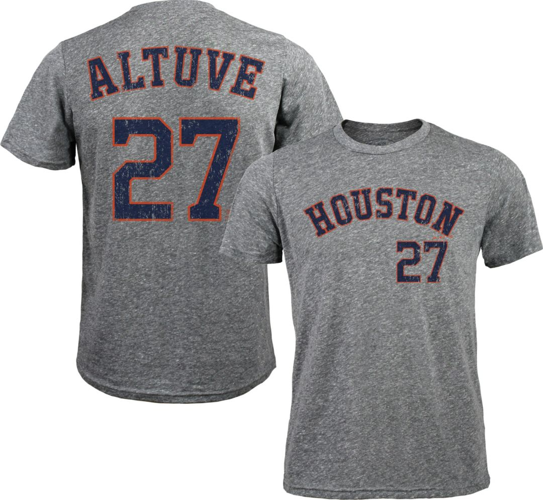 online retailer d2a51 3f3a7 Majestic Threads Men's Houston Astros Jose Altuve #27 Grey Tri-Blend T-Shirt