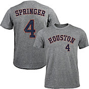 Majestic Threads Men's Houston Astros George Springer #4 Grey Tri-Blend T-Shirt