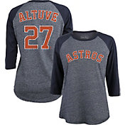 Majestic Threads Women's Houston Astros Jose Altuve #27 Raglan Navy Three-Quarter Sleeve Shirt
