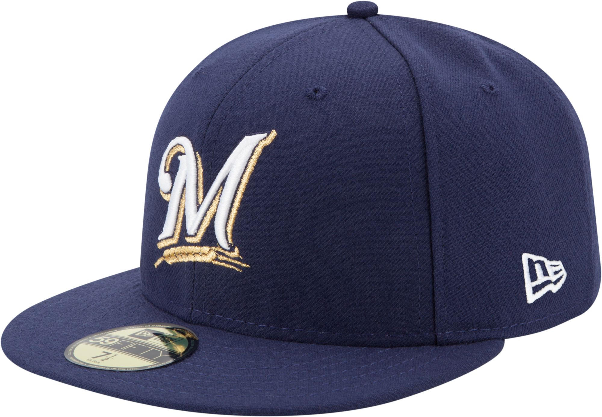 new concept eac66 04439 ... where to buy new era mens milwaukee brewers 59fifty game navy authentic  hat 1bfdf f6046