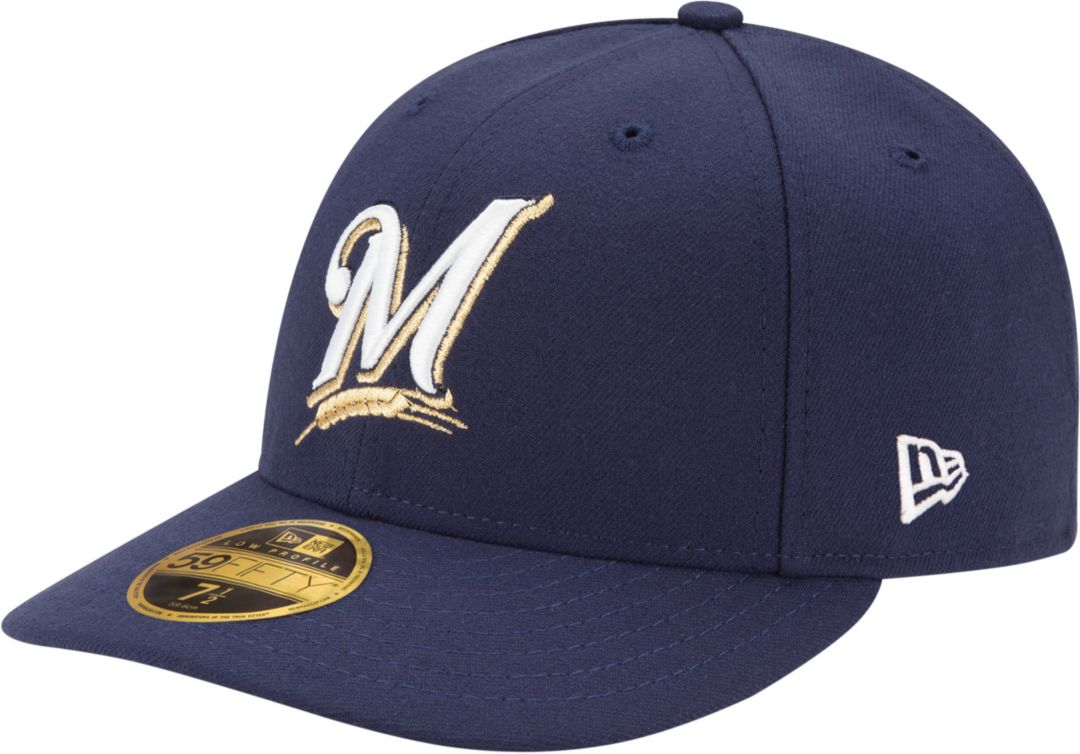 9398f54a2 New Era Men's Milwaukee Brewers 59Fifty Game Navy Low Crown Authentic Hat