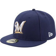 New Era Men's Milwaukee Brewers 59Fifty Game Navy Authentic Hat