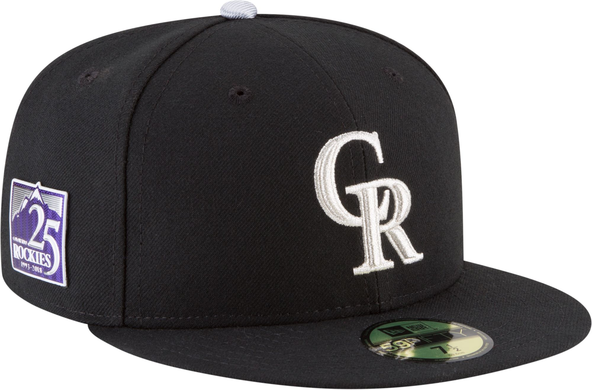 3d9a92c8 get new era mens colorado rockies 59fifty black authentic hat w 25th  anniversary patch 49969 fbd6f