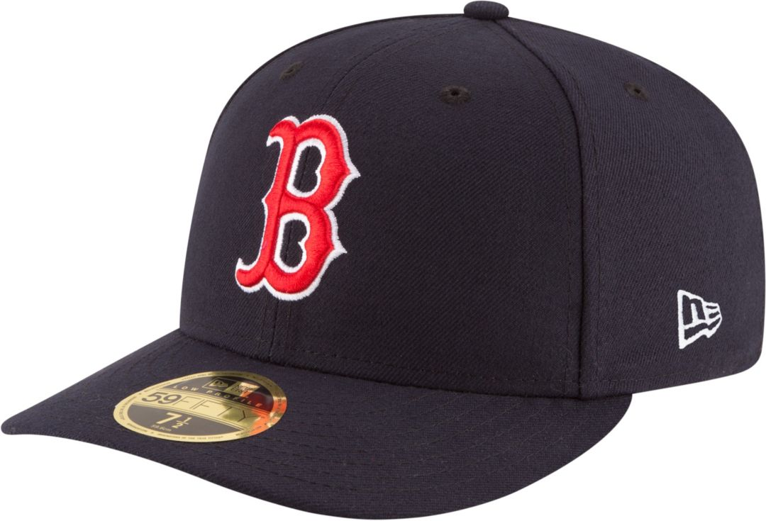 1324f964 New Era Men's Boston Red Sox 59Fifty Game Navy Low Crown Authentic Hat 1