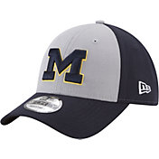 New Era Men's Michigan Wolverines Grey/Blue The League Blocked 9FORTY Adjustable Hat