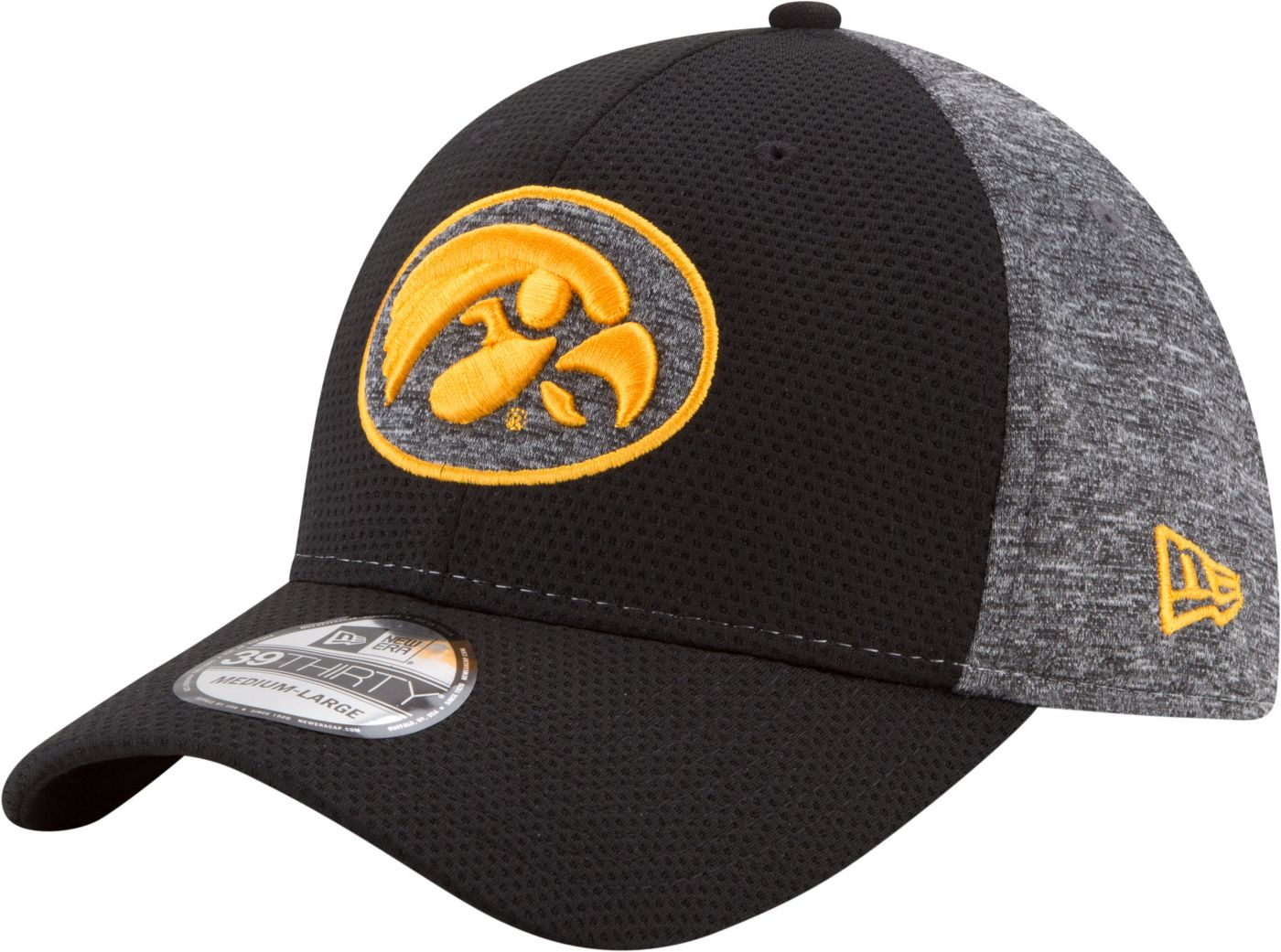 New Era Men's Iowa Hawkeyes Grey Fierce Fill 39Thirty Stretch Fit Hat