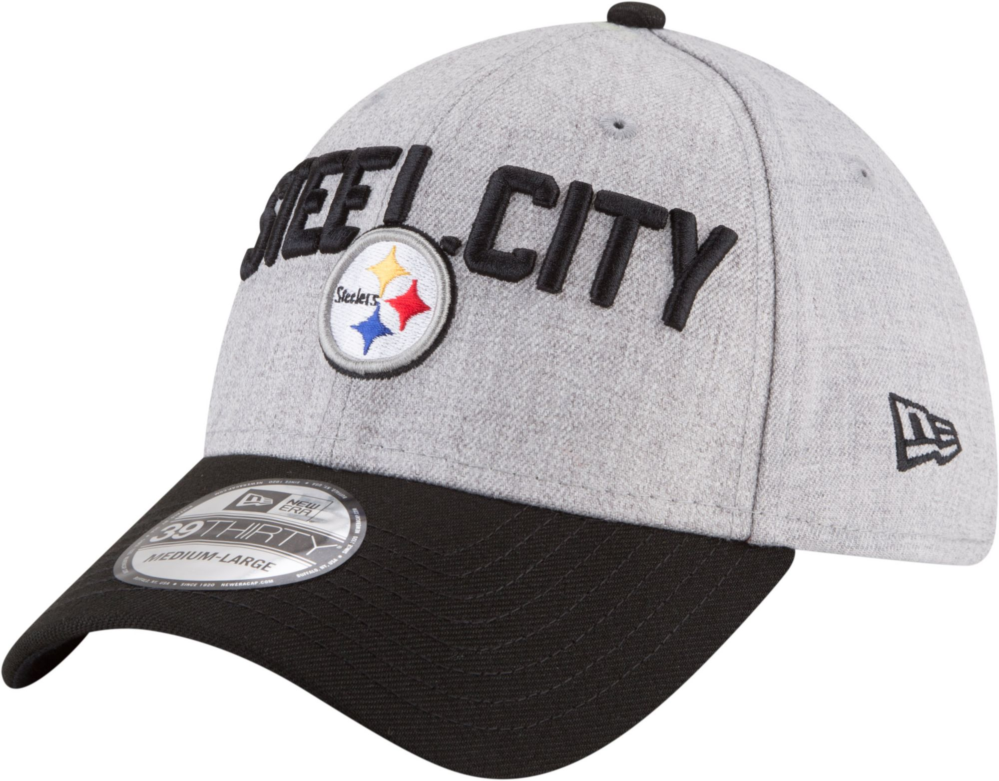 separation shoes d9d7c 0b28c ... ireland new era mens pittsburgh steelers 2018 nfl draft 39thirty  stretch fit grey hat c9000 dcb78