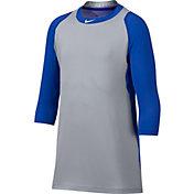 Nike Men's Pro Cool Reglan ¾-Sleeve Baseball Shirt in Royal/Grey